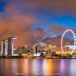 Panorama view of Gardens By The Bay, Marina Bay Sands, Singapore Flyers